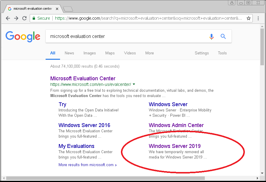 windows server 2019 trial