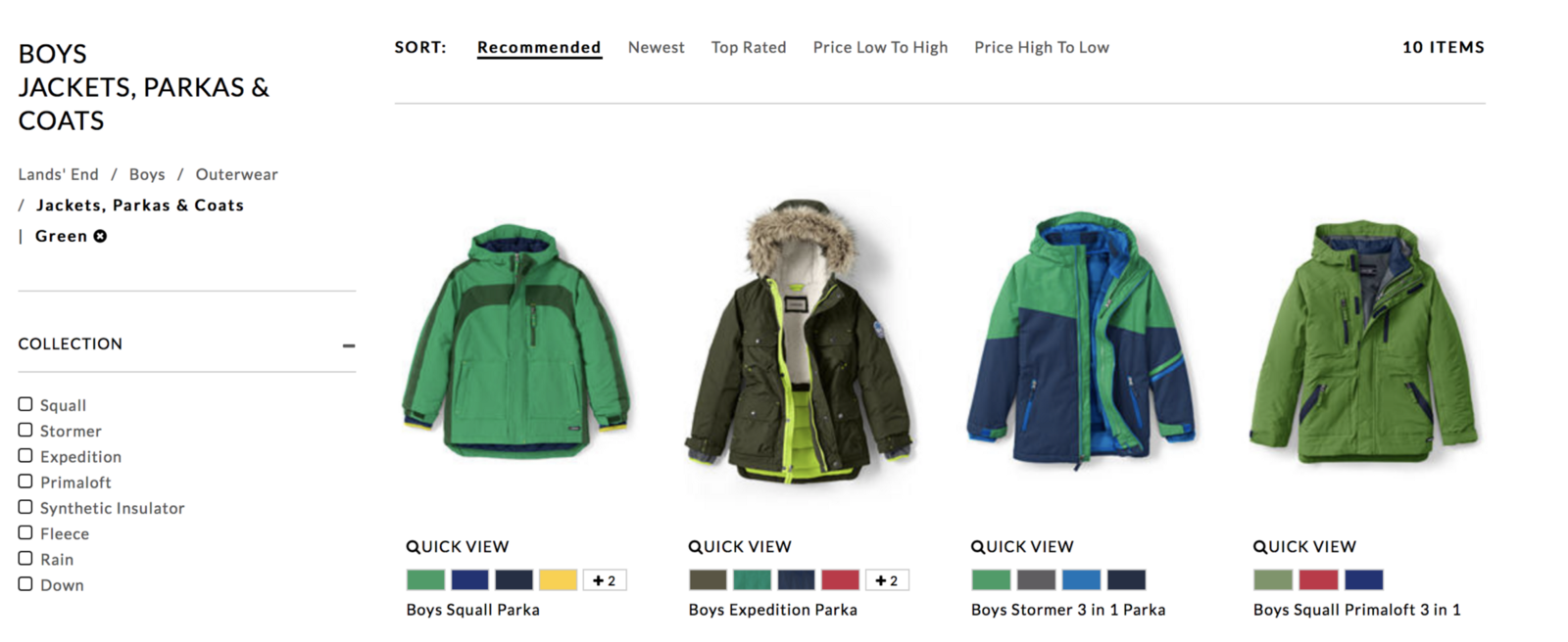 ad4247dcd Screen shot at Lands' End for green boys' jackets.