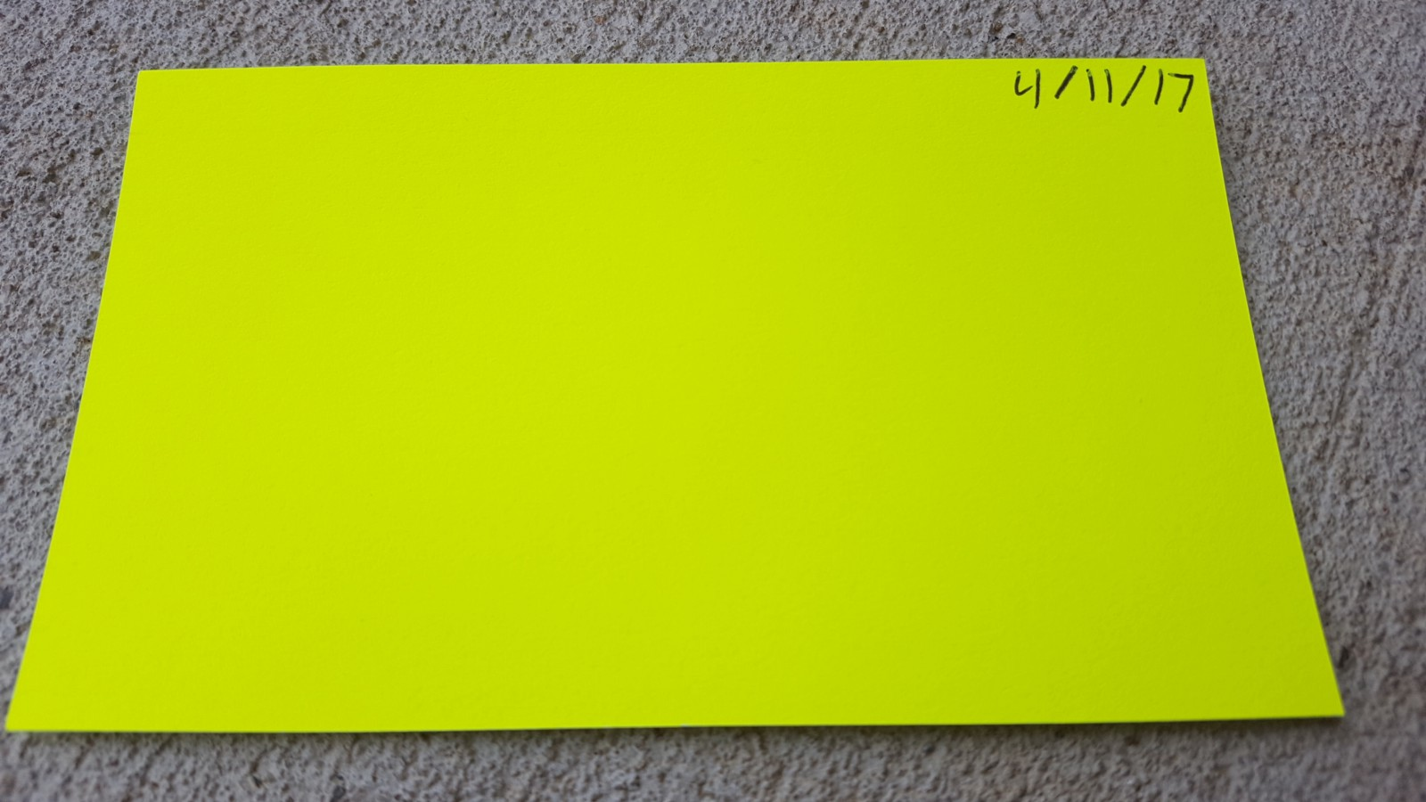 Picture of notecard with date at top right.