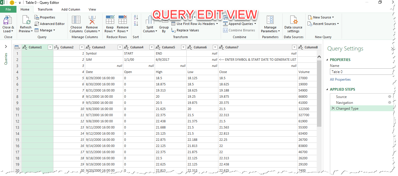Microsoft excel basic powerquery stock price data from google excel ready to edit the query in powerquery biocorpaavc Gallery