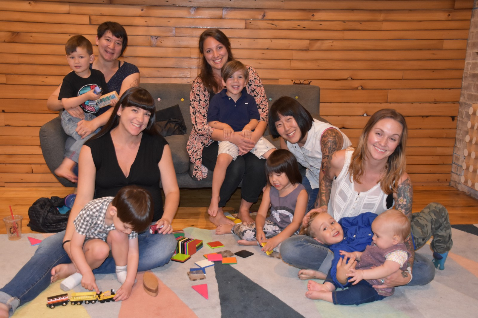 From l to r: Sarah Cullen, Michelle Rice, Maggie Wachter, Stefany Stuber  and Kimberly Geisler of Fishtown Mamas play with their children at PlayArts  on ...