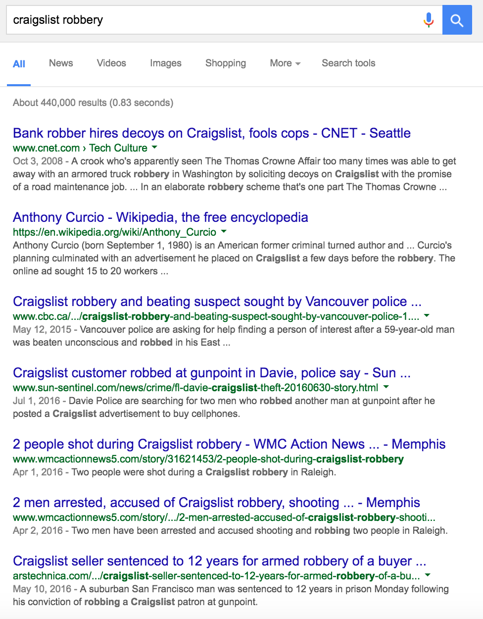 But Hey Craigslist Has Its Challenges A Simple Search For Robbery Turns Up The Below