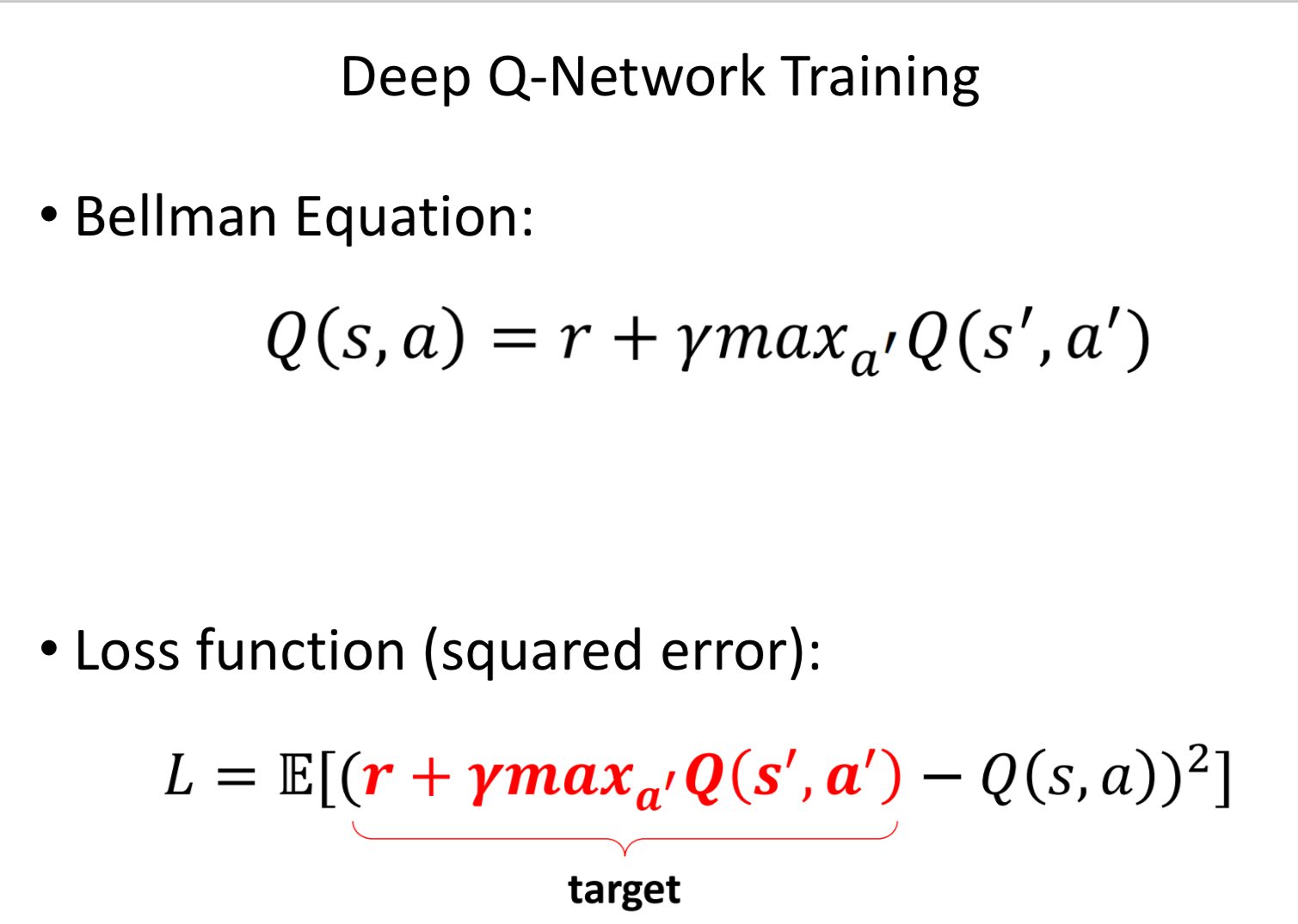 Training for a Deep Q-network