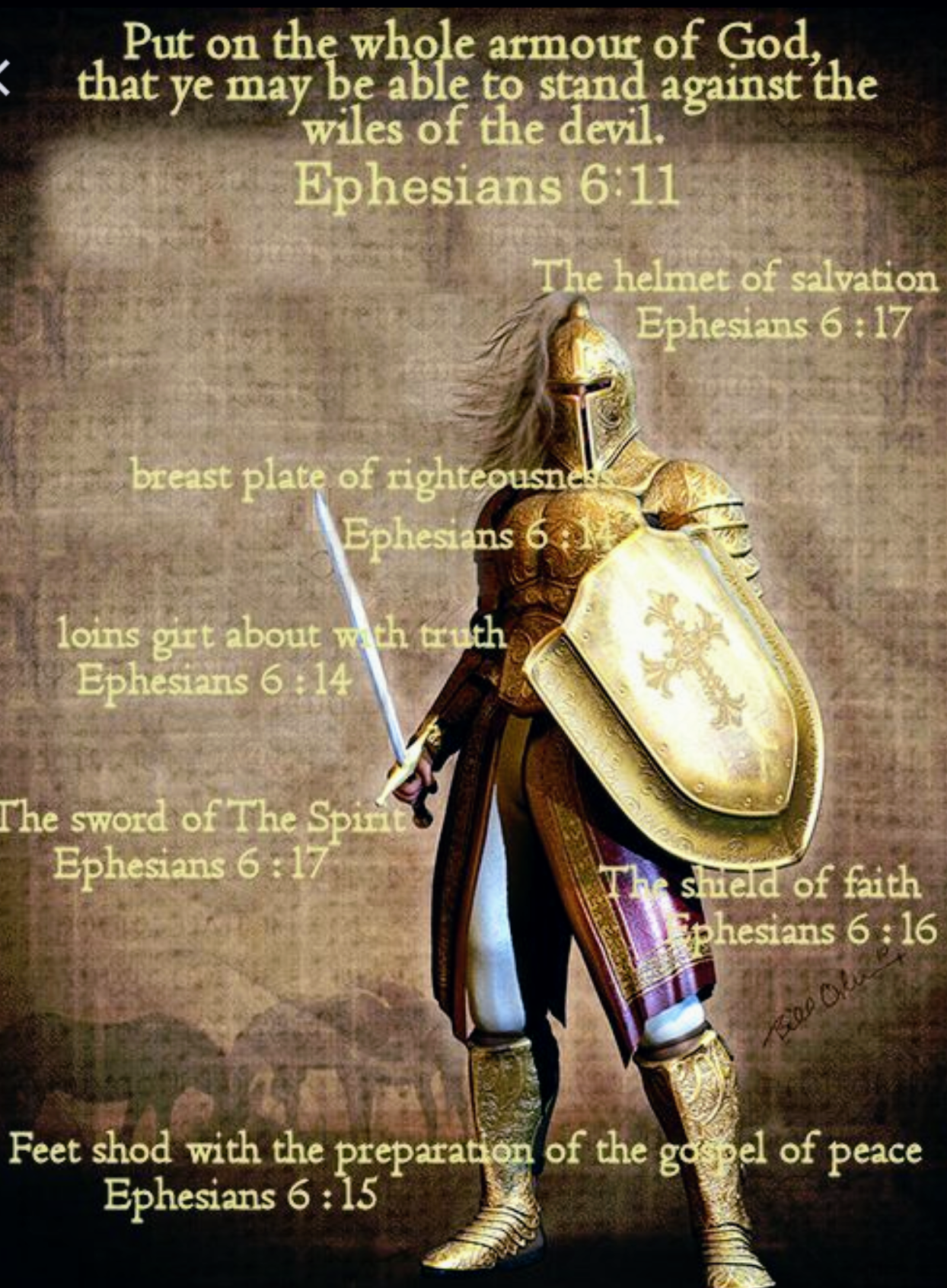 Put on the whole armour of God, that ye may be able to stand against the  wiles of the devil. - Ephesians 6:11
