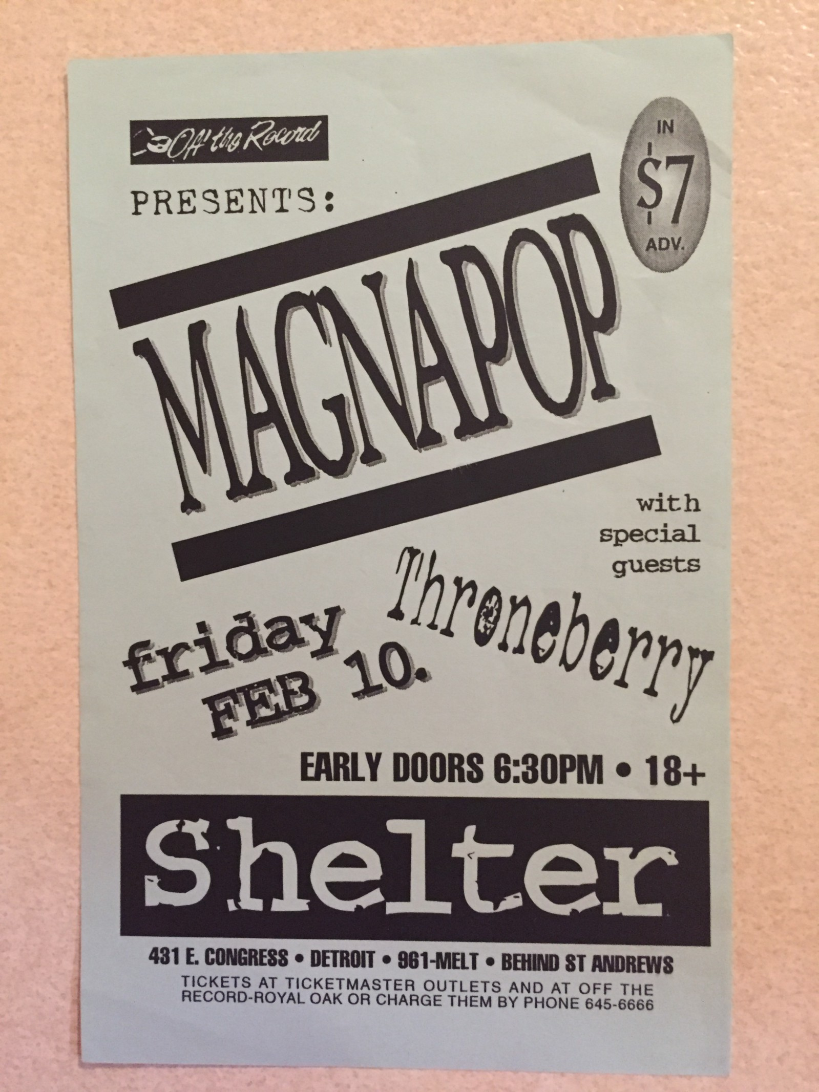 Flier For The Magnapop Show At St Andrews Hall