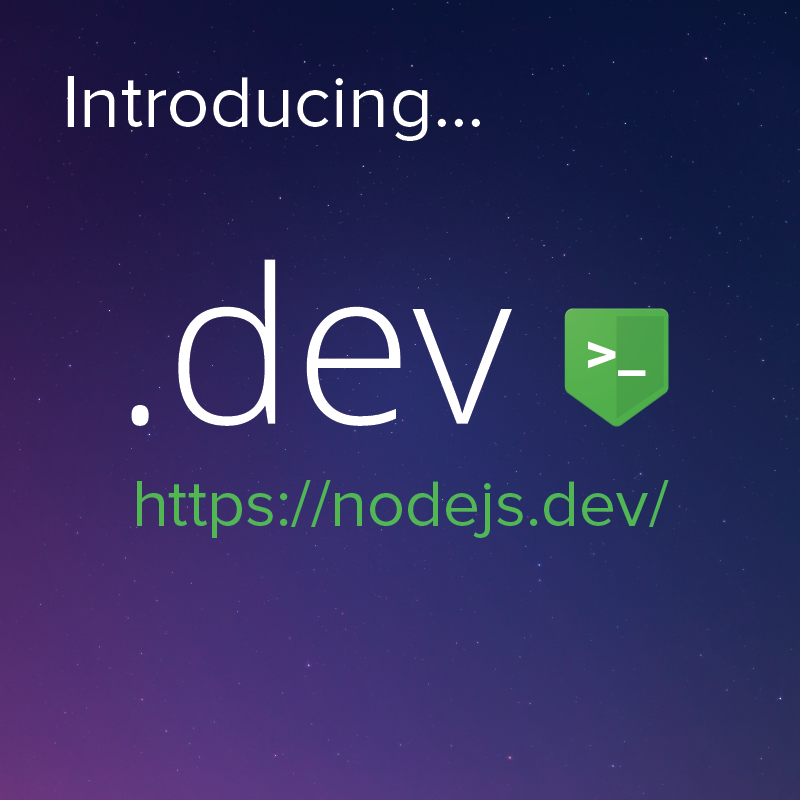 Node.js Selected by Google for .dev Top Level Domain Early Access