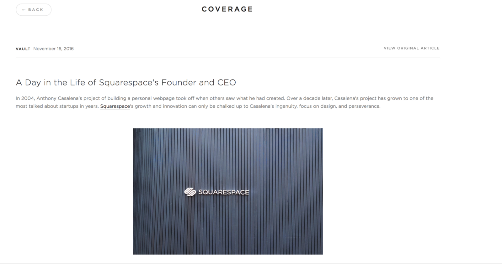 Squarespace Have A Blog About The Founder Look At How They Answer Questions Future Of Company And Problem Theyre Solving