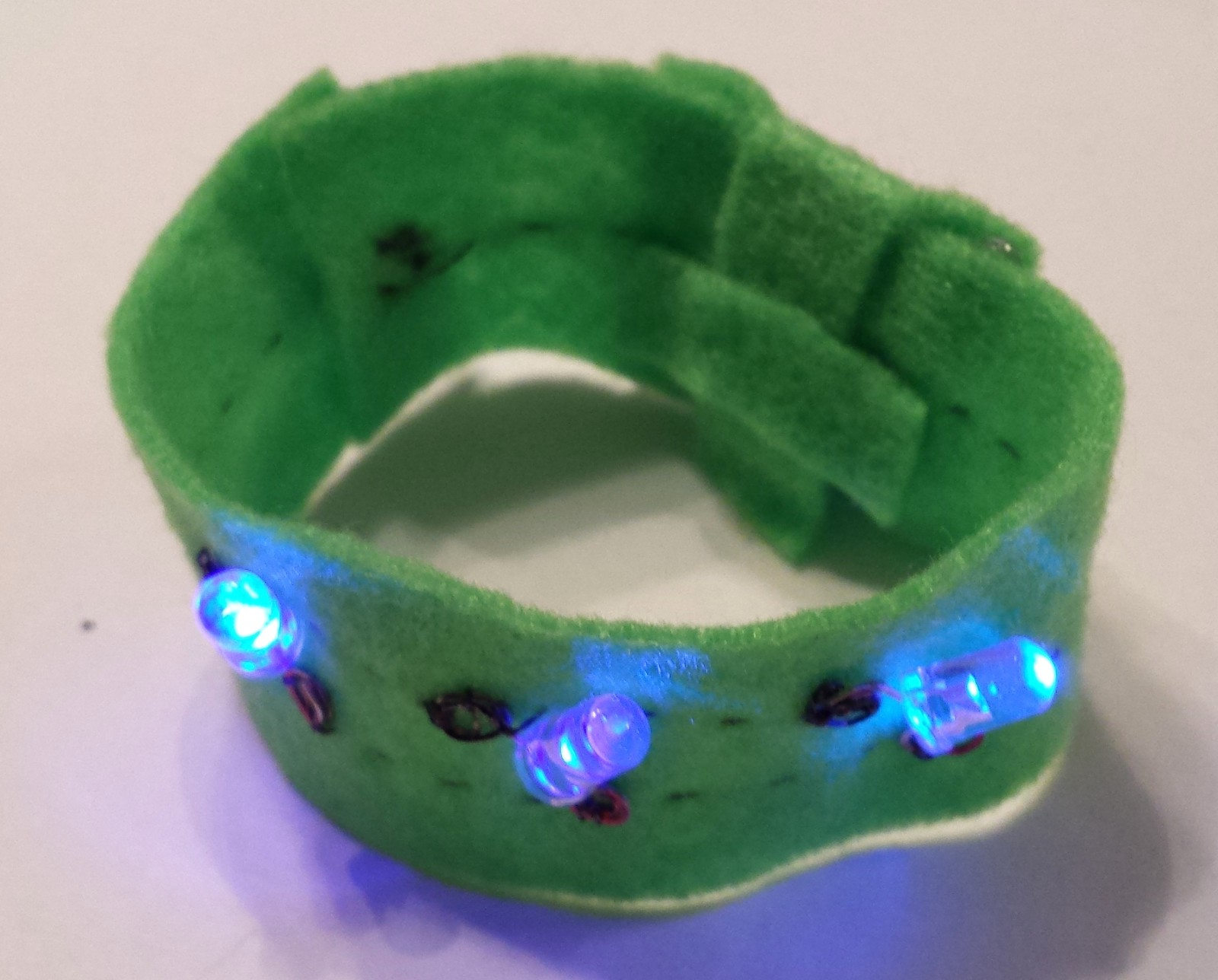Soft Circuit Bracelet Build Jessica Hogan Medium To The Light Emitting Diode Using Snap Circuits Do It Yourself Since Is Complete And Working You Can Embellish Your Leds With Felt Flower Details Embroidery Floss If Youd Like