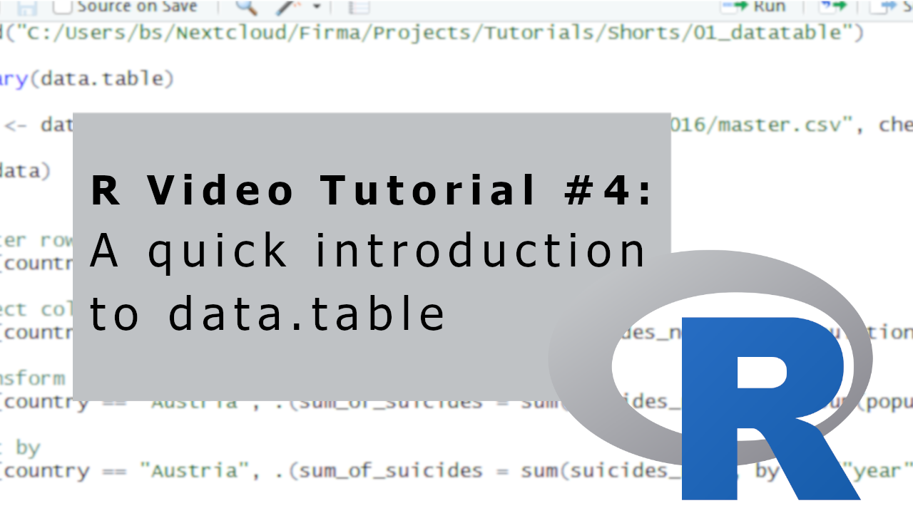 R Video Tutorial #4: A quick introduction to data table