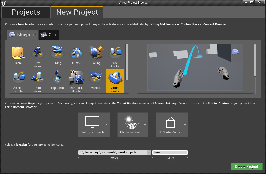 Creating a basic vr demo using unreal virtual reality pop in the blueprint section select virtual reality in the project setup choose desktopconsole maximum quality and no starter content and in location insert malvernweather Image collections