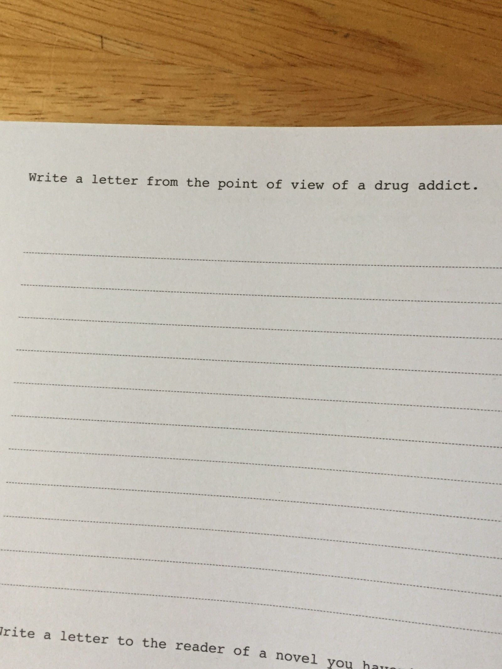 writing wednesday 015 write a letter from the point of view of a drug addict