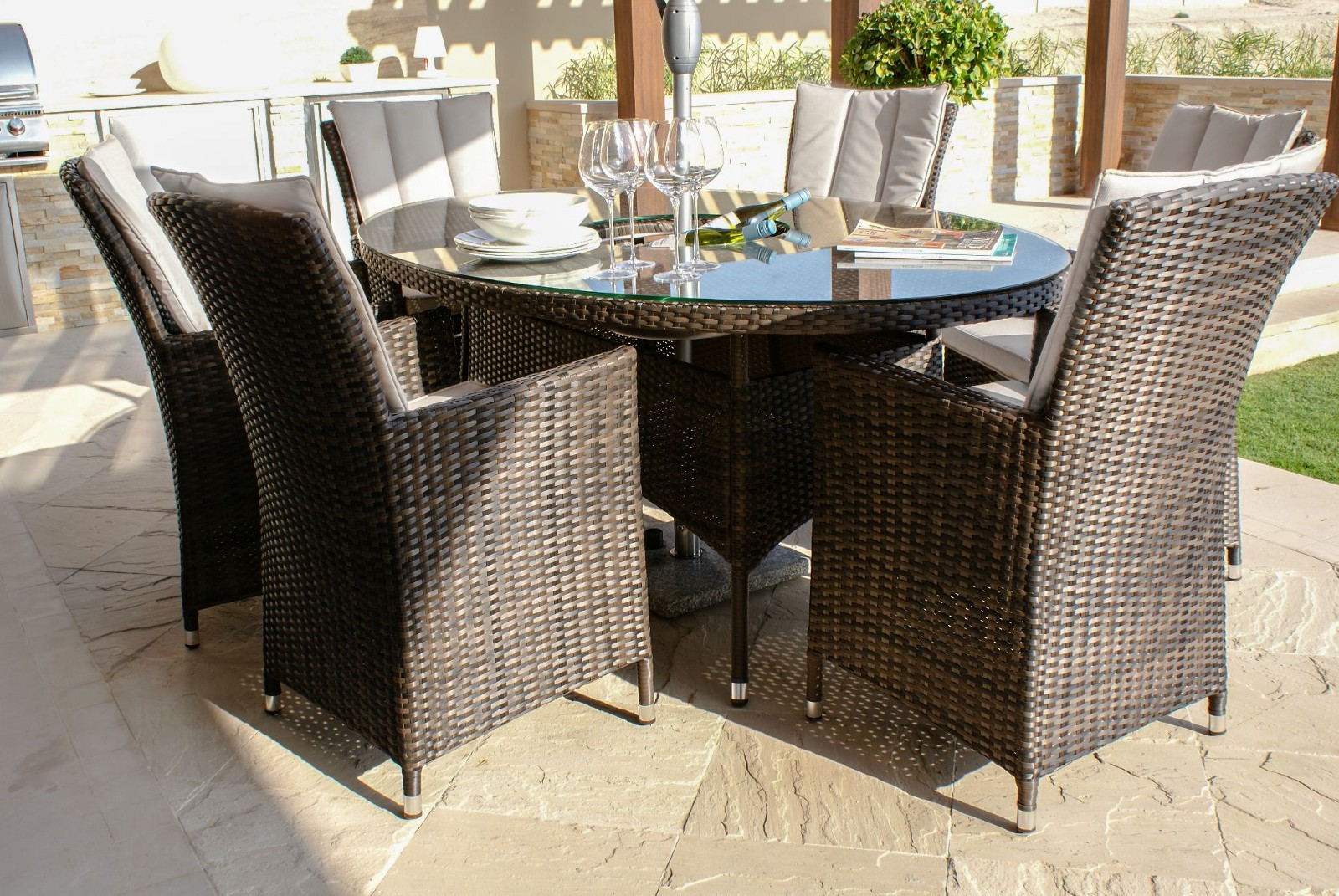 Maze Rattan La Seat Oval Dining Set With Ice Bucket And Lazy Susan - 6 seat oval dining table