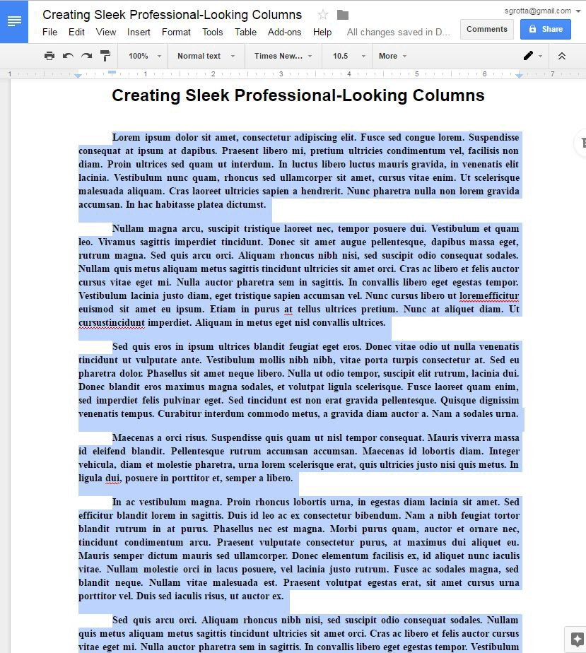 how to write in columns in google docs