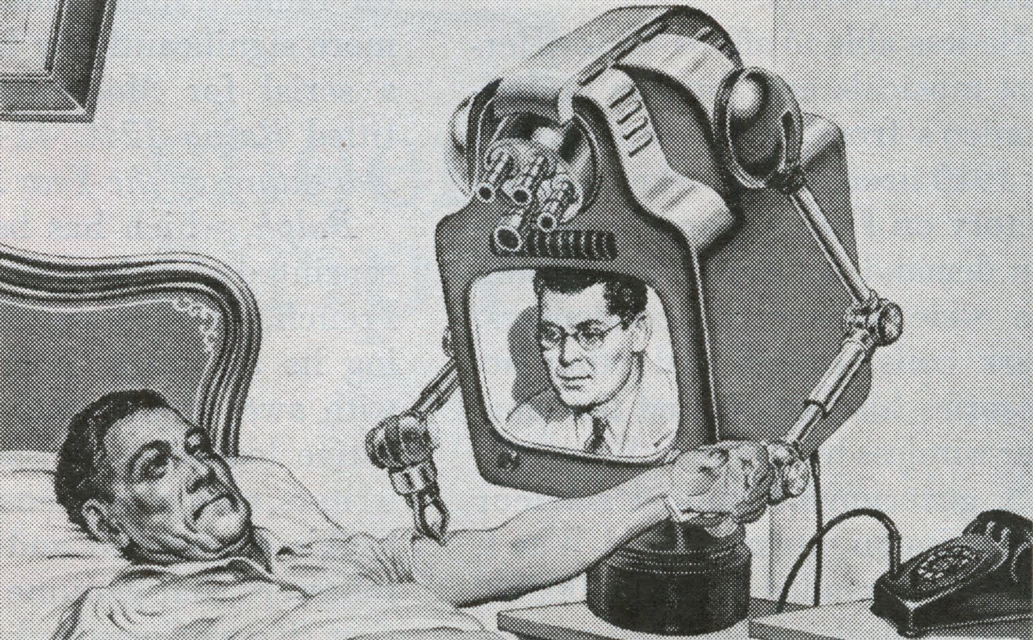 """The Teledoctor  –  Teledoctoring replaces inefficient house calls."" Television, 1955."