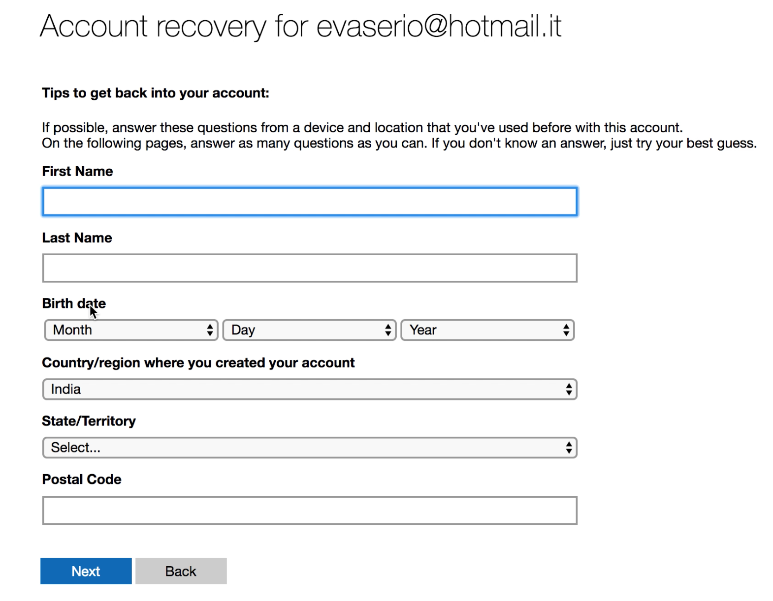 recover a hacked microsoft account