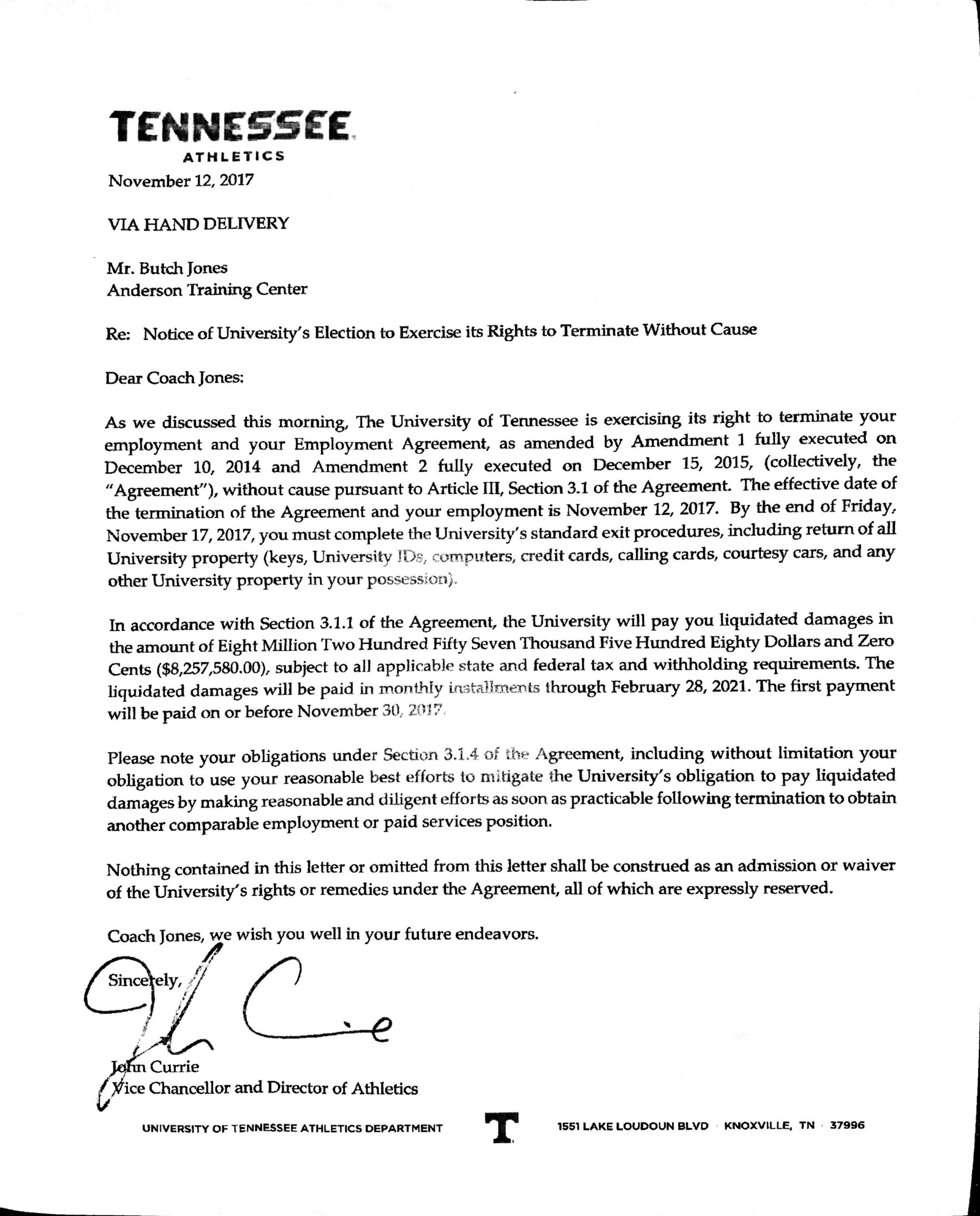 Take a look at butch jones termination letter orange white report check out the full letter below altavistaventures Image collections