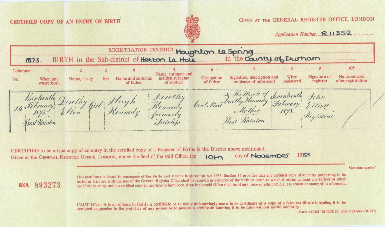 My great grandparents henry bainbridge aka harry 18721954 and dorothy ellens birth certificate 1873 aiddatafo Image collections