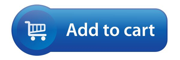 Add to cart button, blue background, 3D with simplified cart icon on the lef