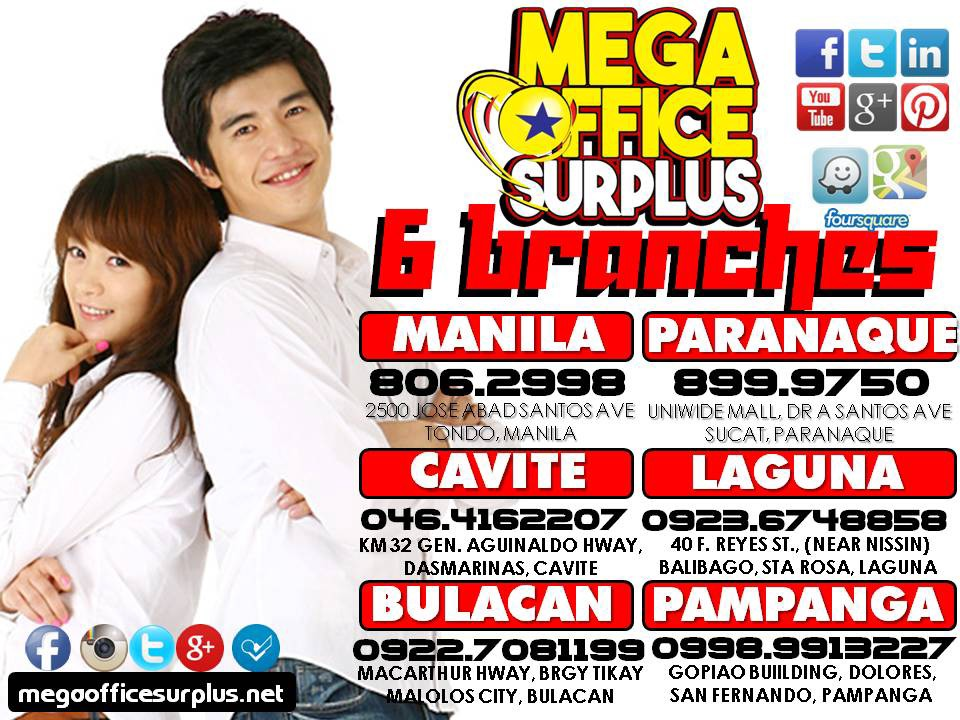 Visit MEGAOFFICE SURPLUS In The Philippines On Following Branches