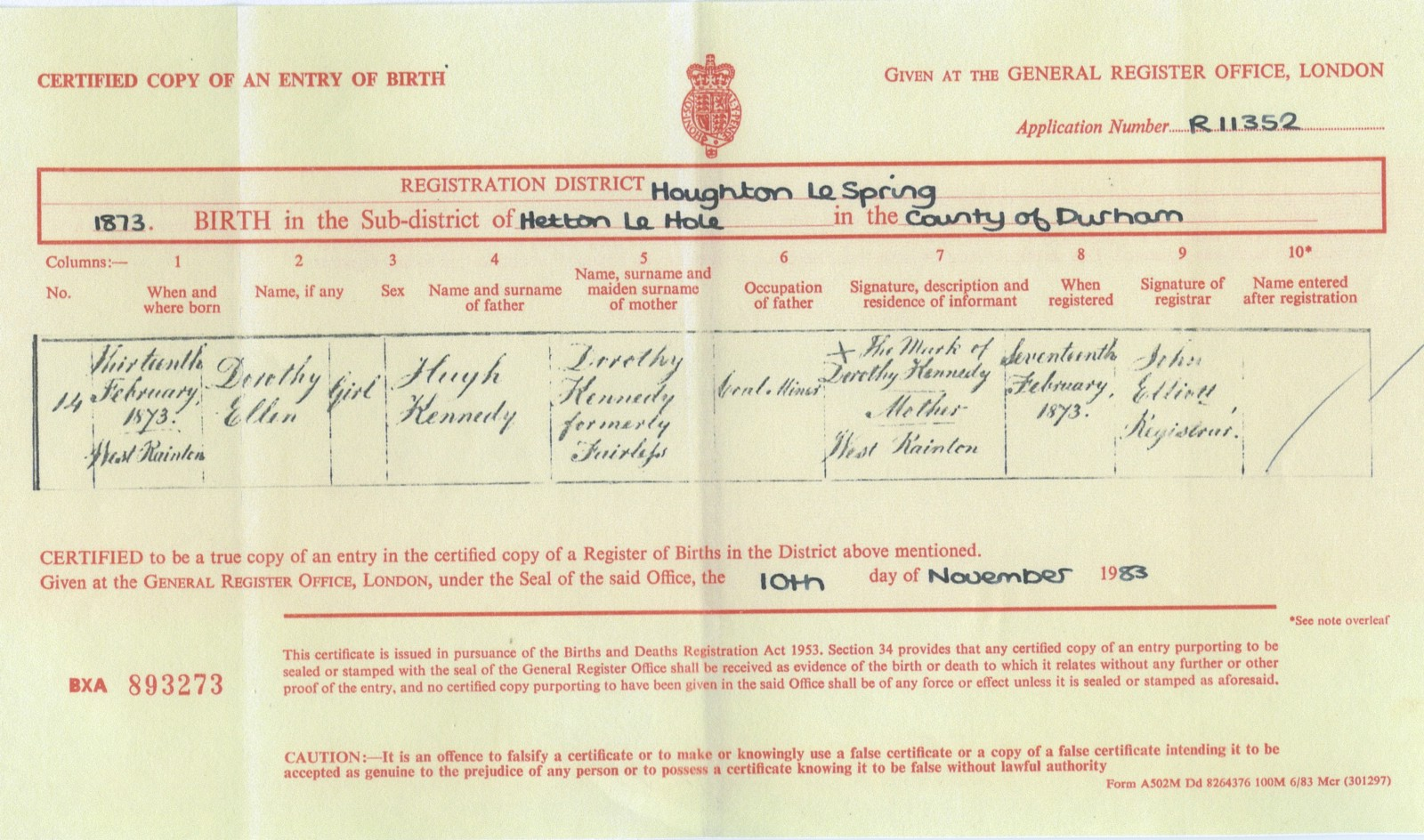 My great great grandparents hugh kennedy 18421912 and dorothy birth certificate for dorothy ellen aiddatafo Choice Image