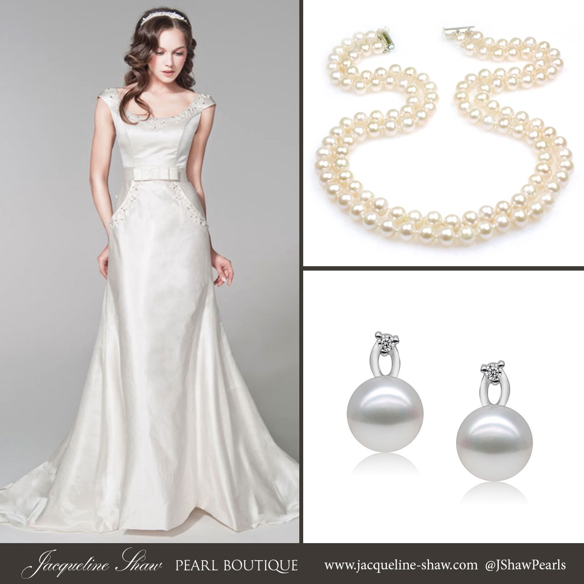 Claire Double Strand Pearl Necklace By Jacqueline Shaw With A Bateau Neckline Wedding Dress