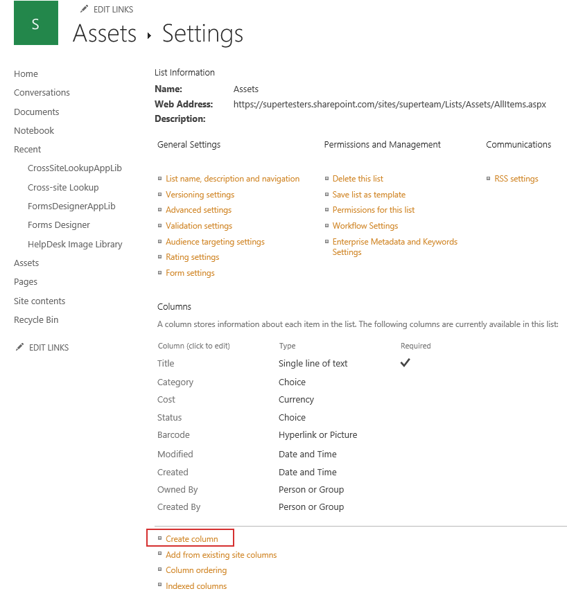 Assets management in SharePoint Online and Office 365