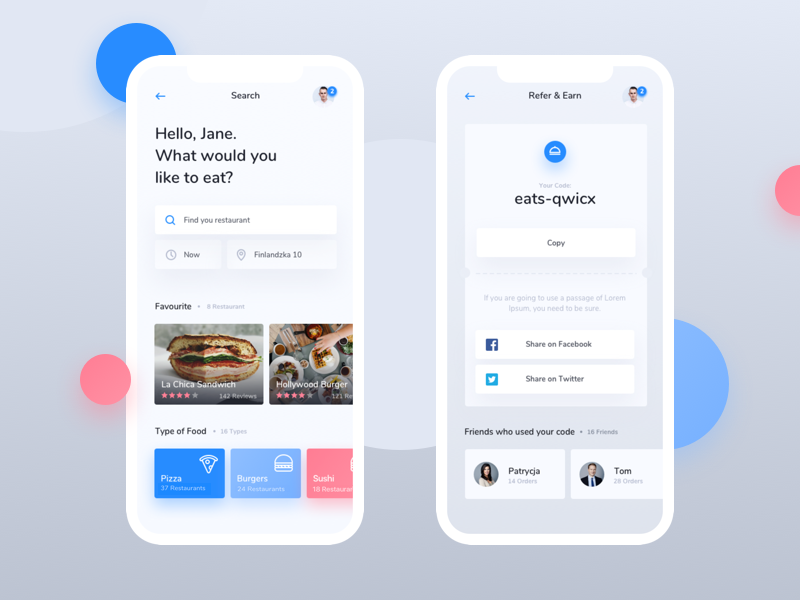 20 fresh food mobile app designs for your inspiration for Tile layout app