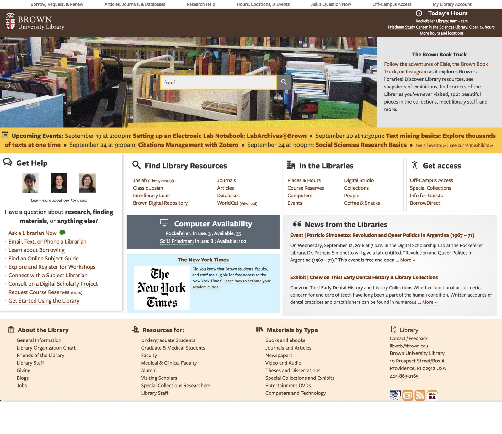 Brown University library landing page