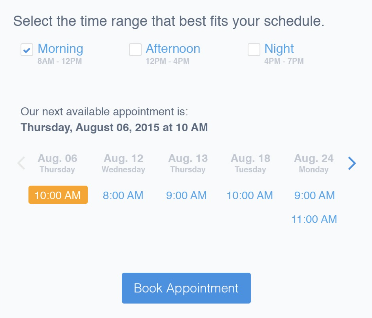 Appointment web forms hacker noon with this design you can see it is a hybrid of our new design and the week view that already exists today however the week view presented here removes falaconquin
