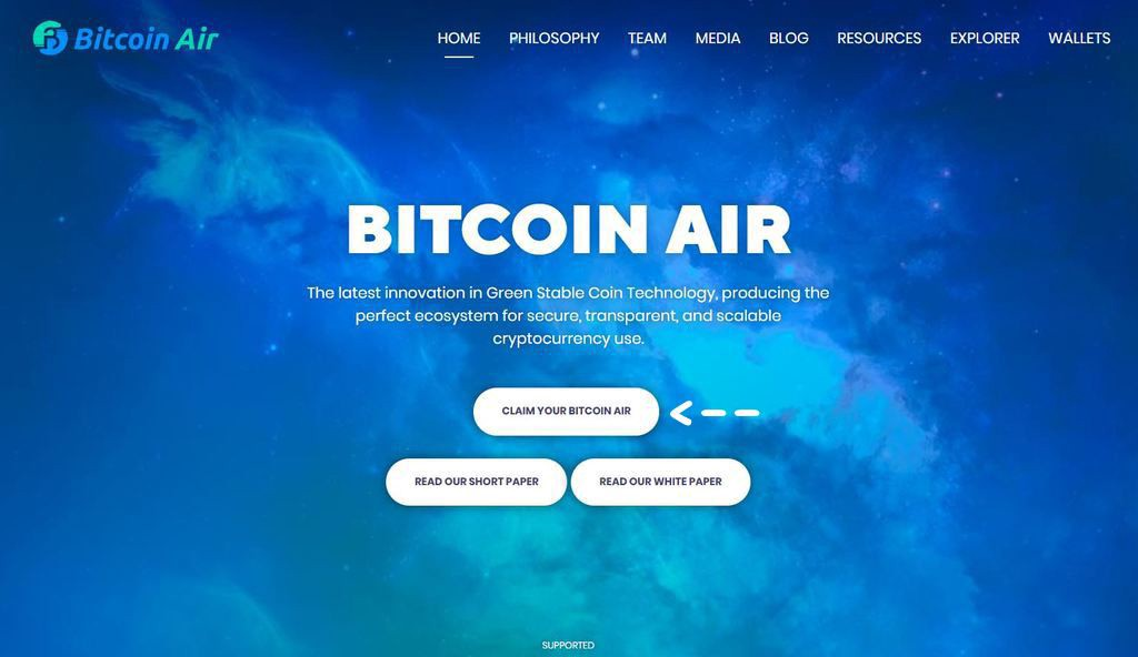 "Click ""Claim Your Bitcoin Air"" to start the private keyless XAP claim process"