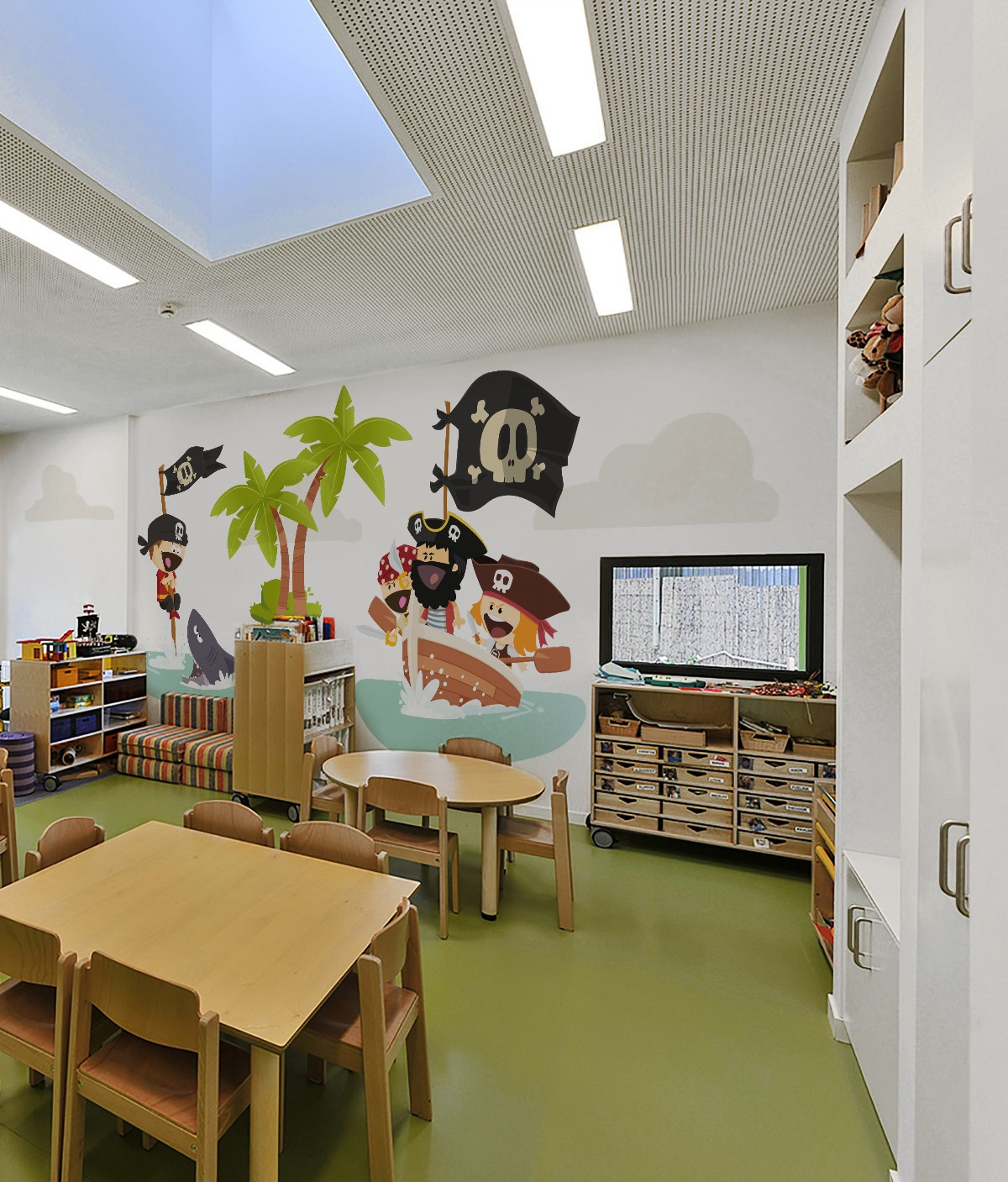 how to decorate a cozy space for children in public places a pirate s ship wall mural from pixers