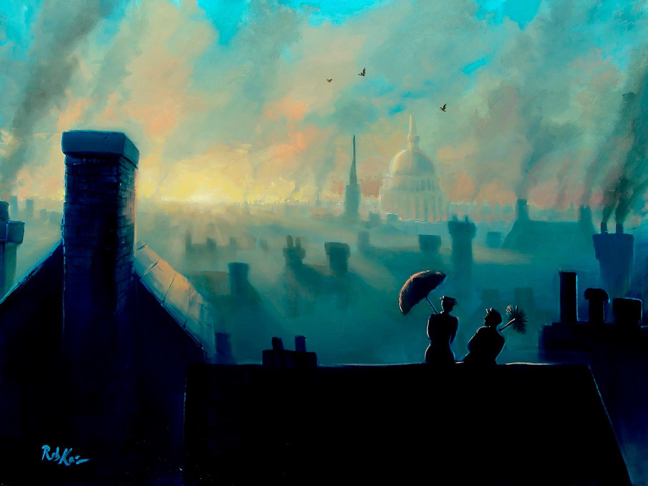 A View From The Chimneys by artist Rob Kaz, limited edition of 50