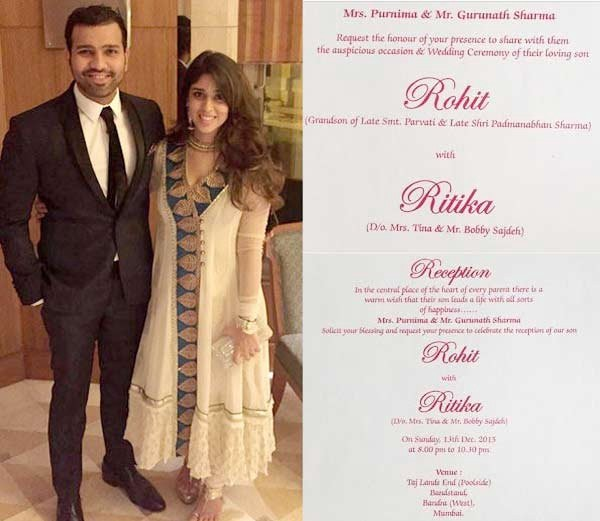 The Indian Cricket Team And Captain Of Mumbai Indians Recently Married To His Long Time Girlfriend Ritika Sajdeh Their Wedding Card Was A