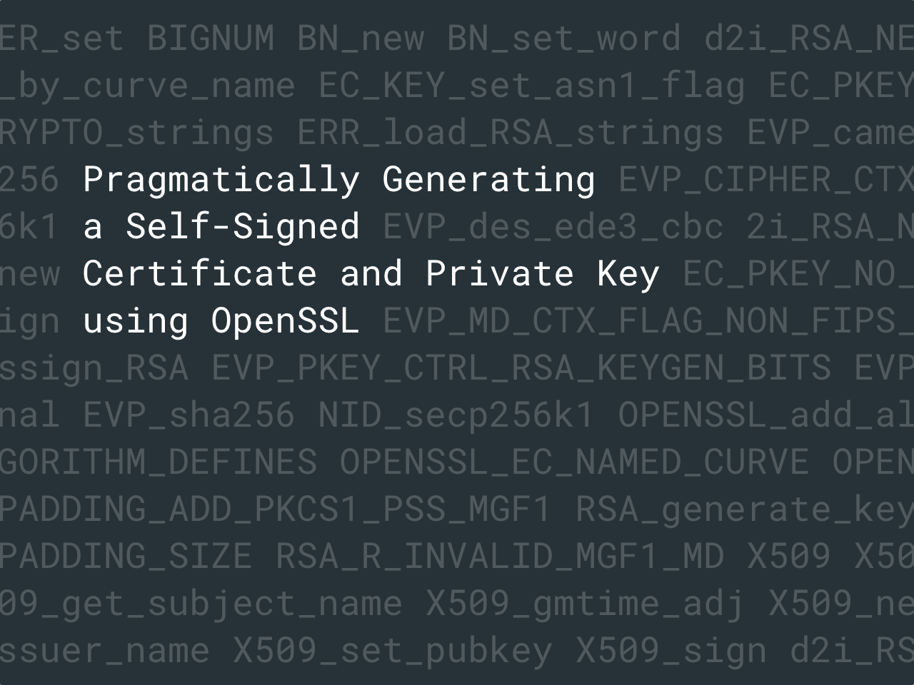 Pragmatically Generating A Self Signed Certificate And Private Key