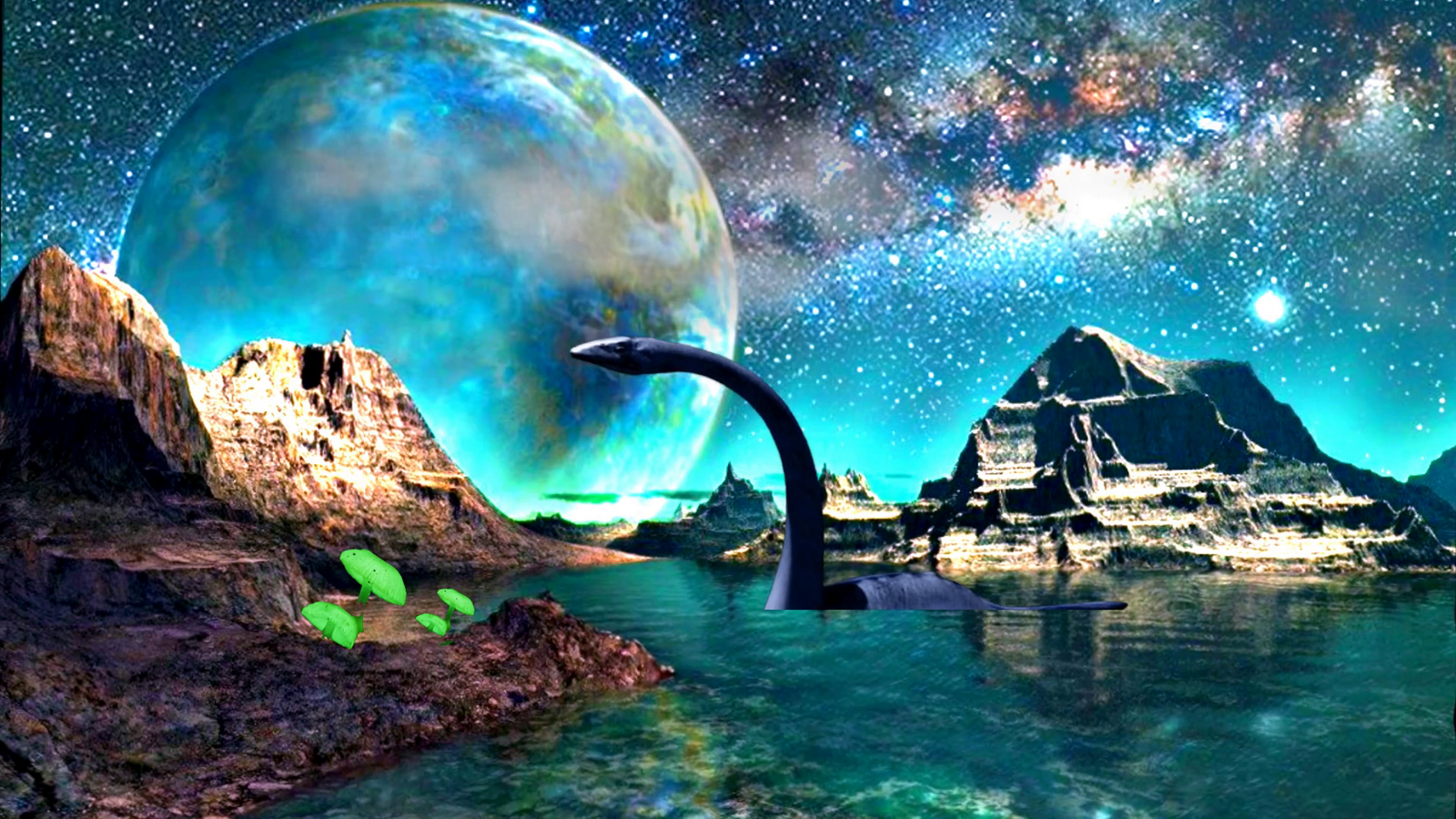 Spacy alternative planet with something like the loch ness monster out of the water