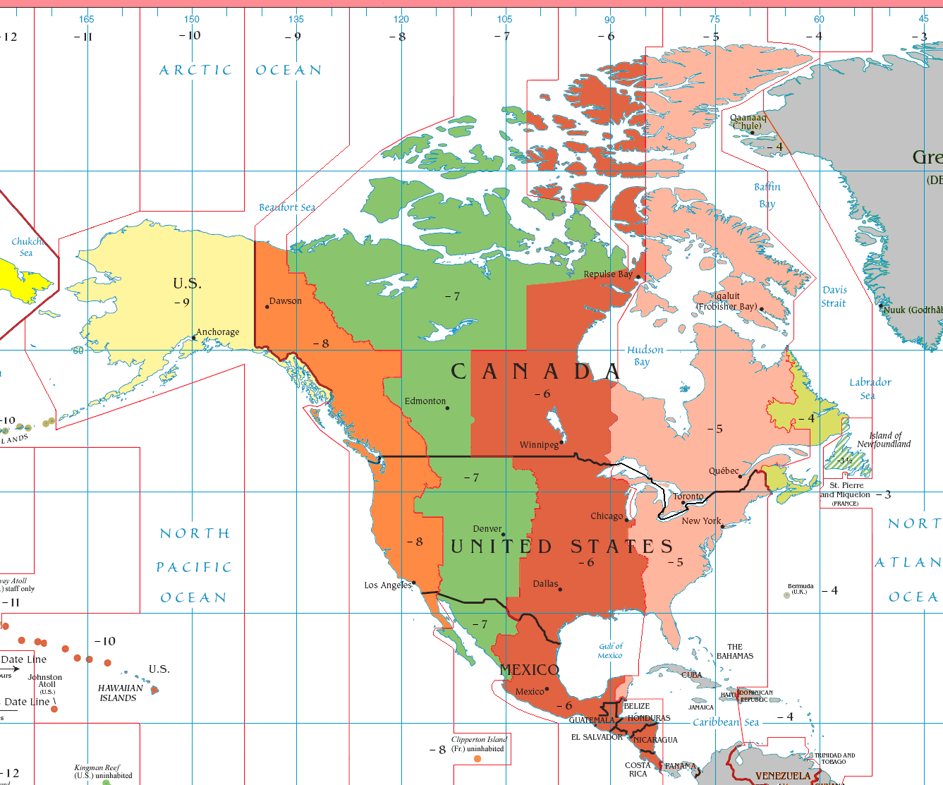 Map Of Time Zones Canada And Usa.Today In History November 18 1883 Time Zones Standardized In