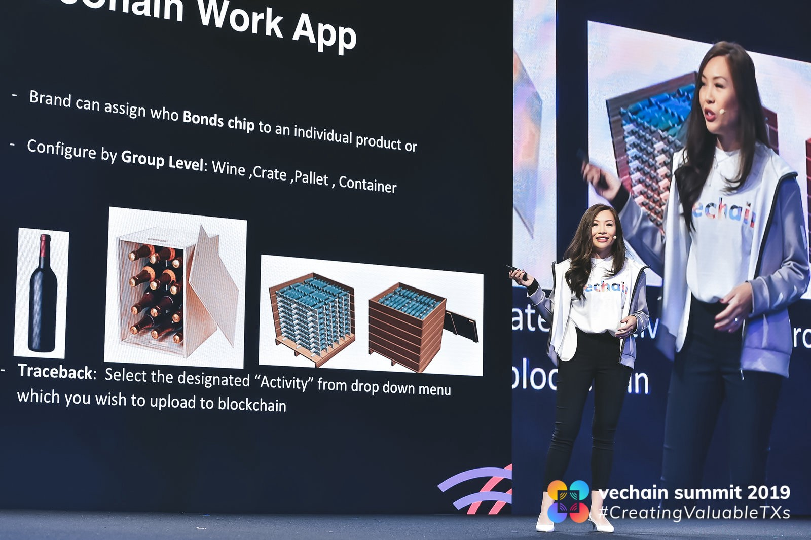 Demonstrating how the VeChain Work App is used to bind physical products to NFC/RFID chips