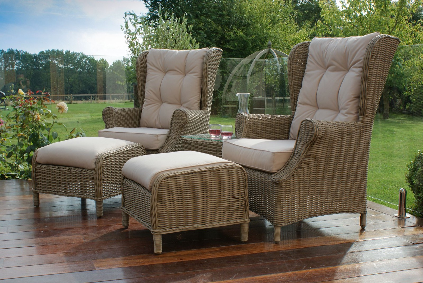 Relax In The Comfortable Maze Rattan Winchester High Back Lounge Set