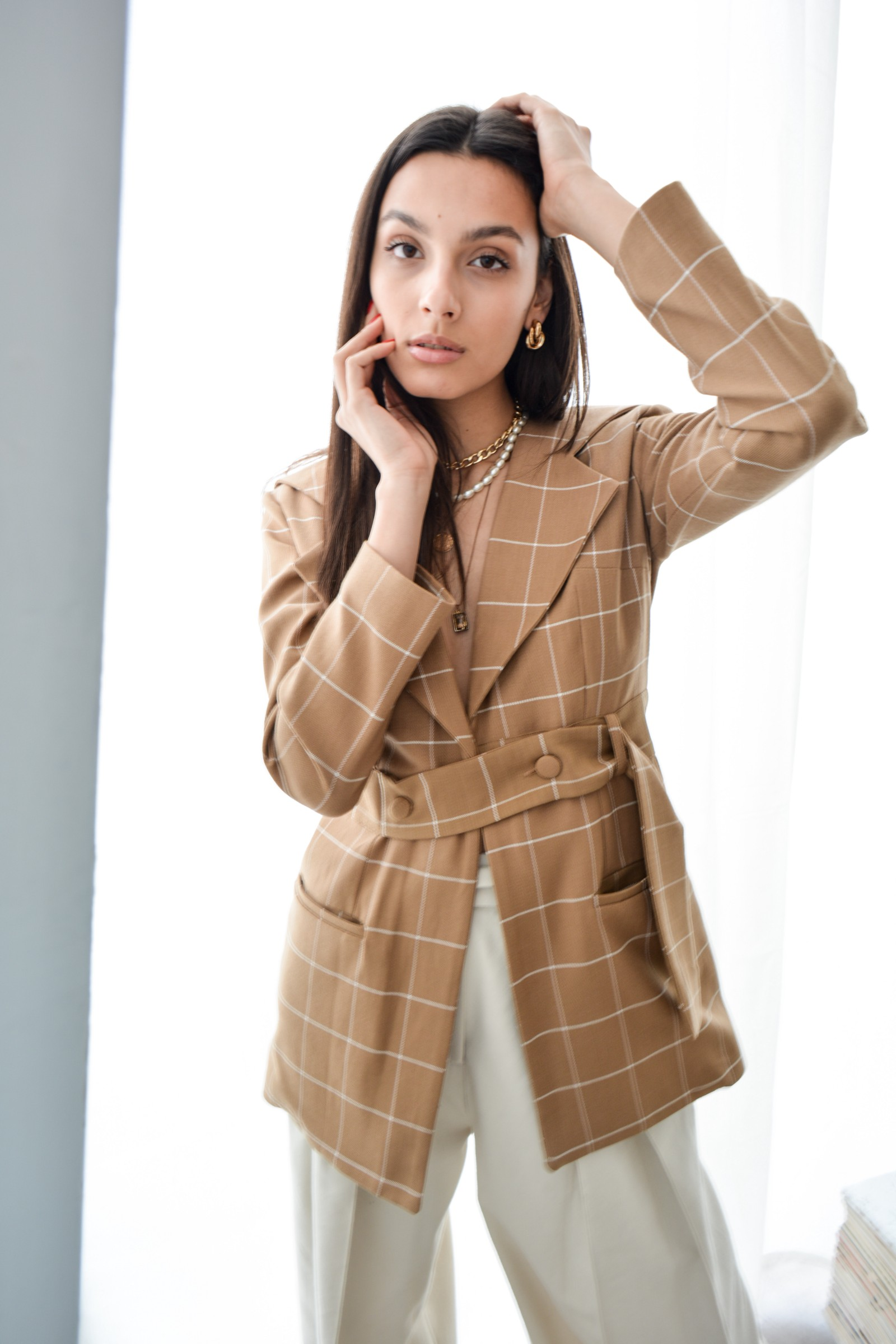The Winona Blazer, made of deadstock cashmere