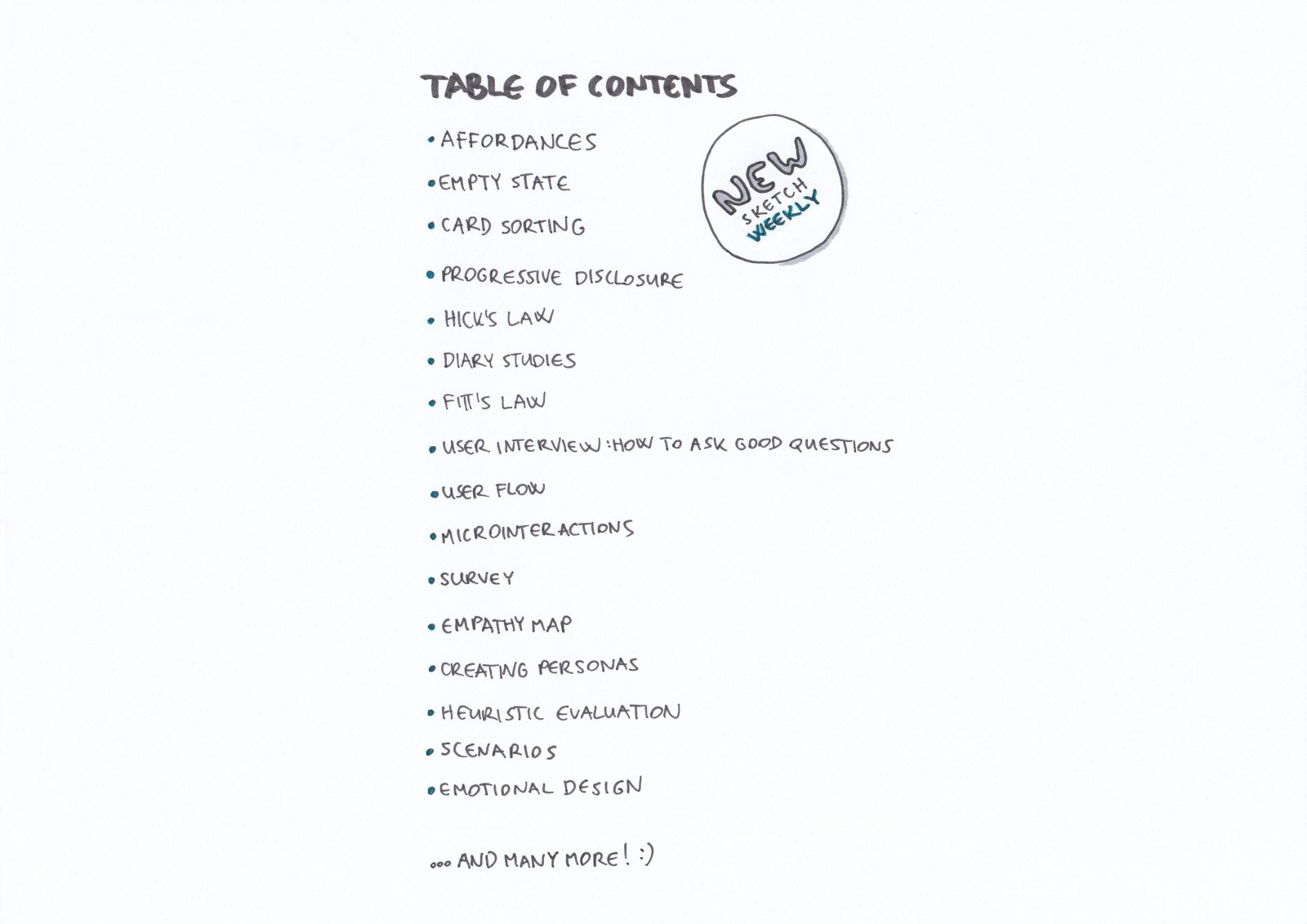 table of content design