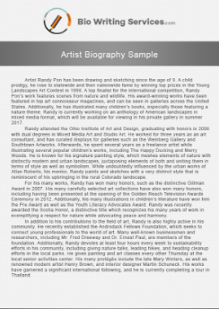 check out this sample and get a winning artist biography here