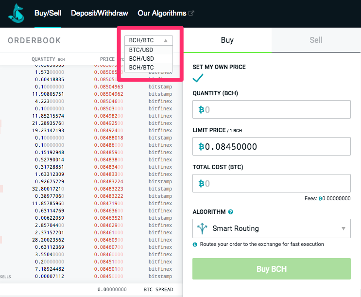 To Trade Just Select Bch Usd Or Btc From The Dropdown Menu In Top Right Corner Of Sfox Orderbook