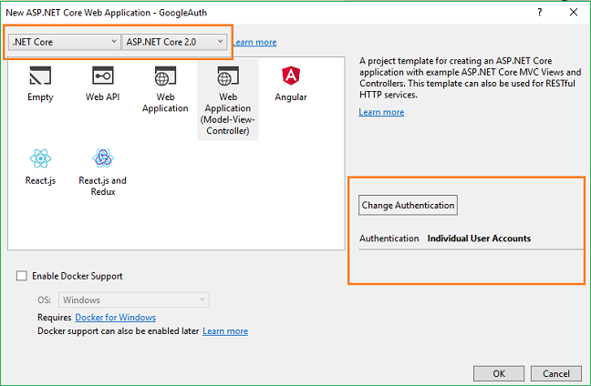 ApplicationModel View Controller Template Click On The Change Authentication Button And A Dialog Box Will Open