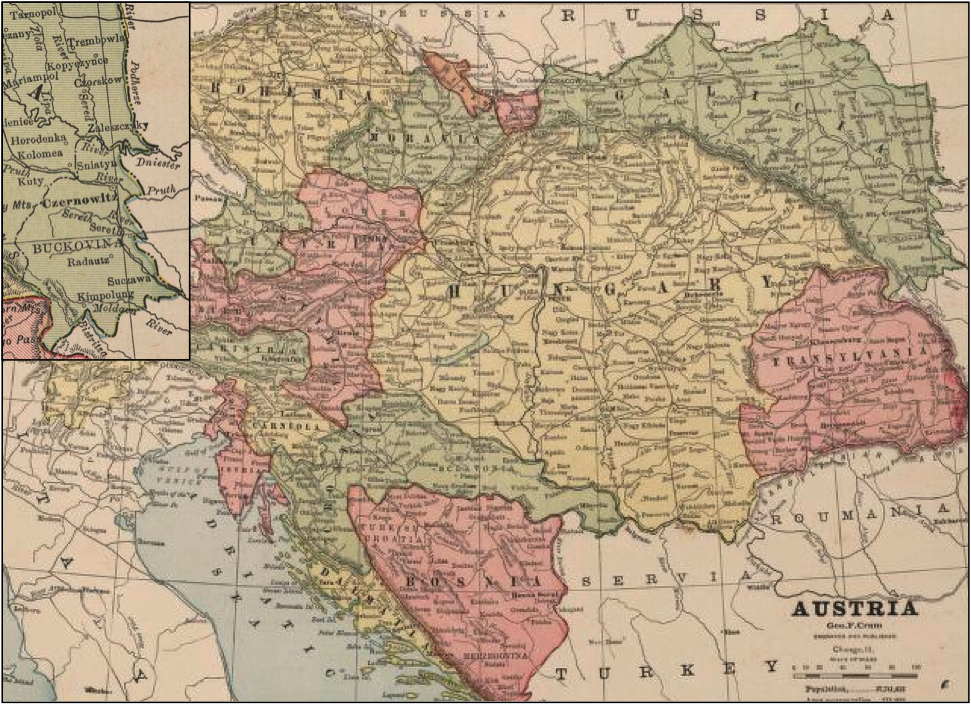 this 1883 map of austria1 shows galicia in green in the upper right the small inset map in the upper left is an enlargement of bukowyna