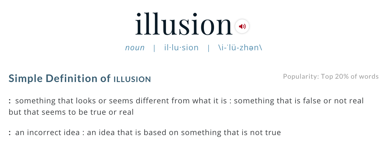 What I Derive From This Word And Itu0027s Definition As Opposed To Delusion,  Which Iu0027ll Discuss Shortly, Is That An Illusion Is Something You Think Is  One Thing ...