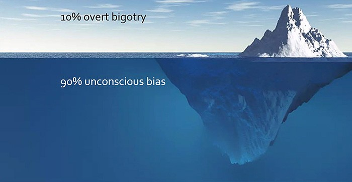 An iceberg 90% submerged. Caption above the water reads 10% overt bigotry, caption below the water reads 90% unconcious bias