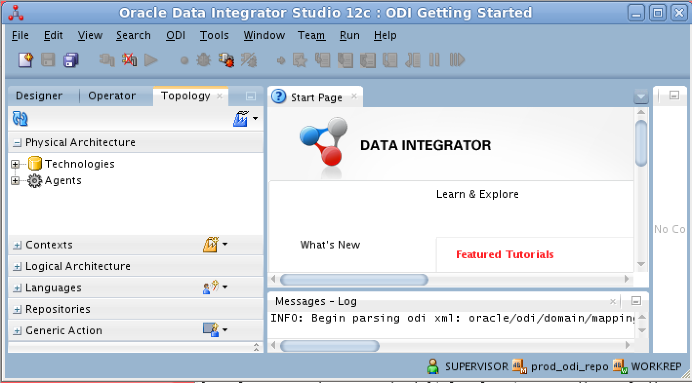 Using the oracle data integrator odi 1221 openlink odbc click on the blue factory icon at the top right of the topology tab in the left side window pane and ensure that the option to hide unused technologies baditri Gallery