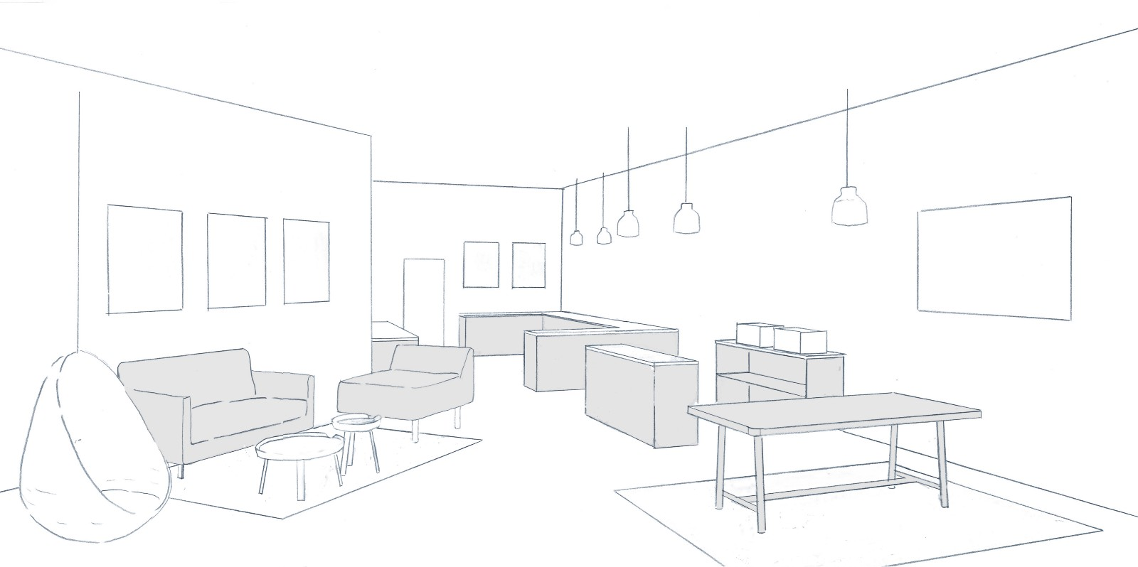 June Pop Up Showroom Design Concept Sketch, By Hobstetter Architecture  Studio