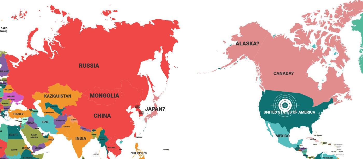 South and north korea team up the haven medium new world map to reflect changing political alliances with asian partners in red possible new asian partners in pink and the us left alone to face north gumiabroncs Images