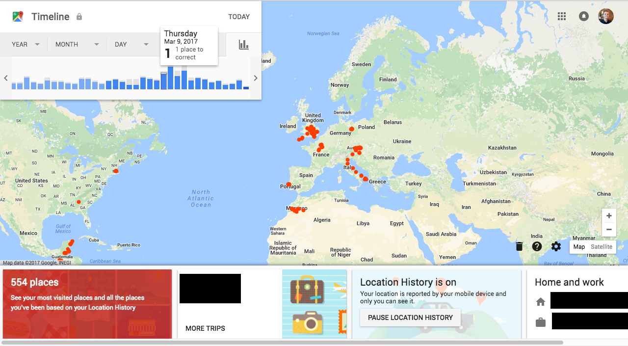 Create a heat map from your google location history in 3 easy steps my google timeline yeah i remember that drive down through italy gumiabroncs Images